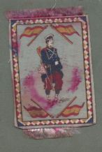 Cigarette cards silk felt blanket soldiers with  flags circa 1920' #547